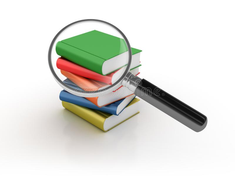 Os livros procuram com lupa ilustração do vetor