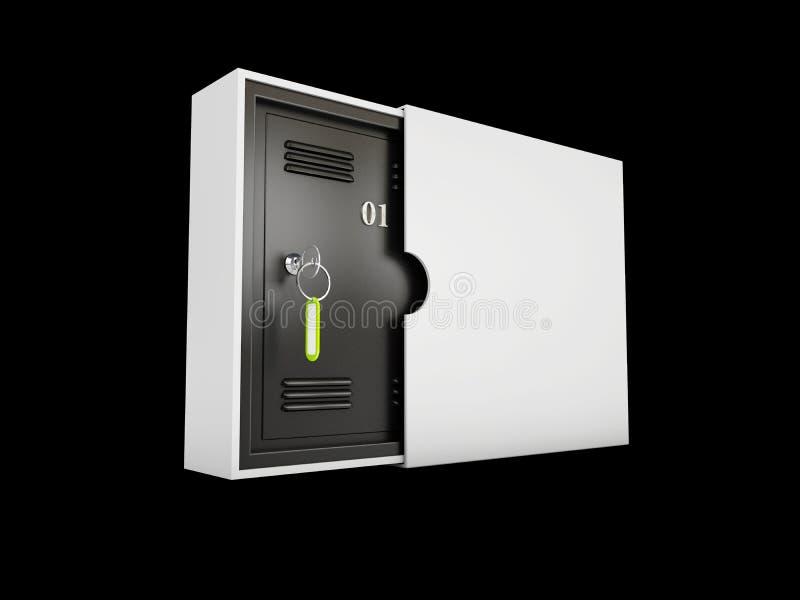 Os lockboxes do cofre-forte isolaram o preto, ilustração 3d ilustração do vetor