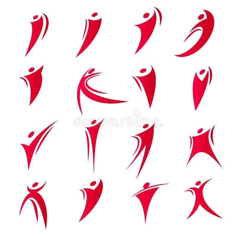 Os logotipos abstratos isolados da unidade dos povos da cor vermelha ajustaram-se na ilustração branca do vetor do fundo ilustração stock