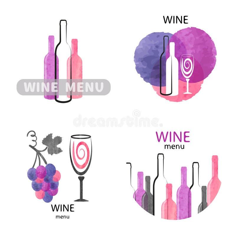 Os logotipos do vinho da aquarela ajustaram-se em cor-de-rosa, no roxo e no preto ilustração do vetor