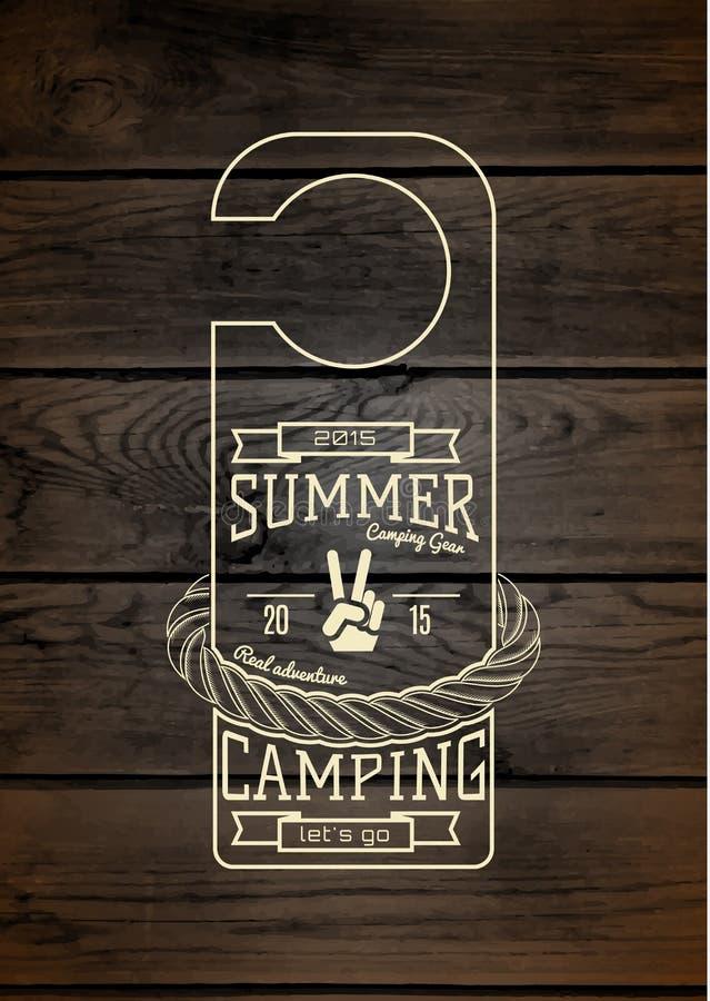 Os logotipos e as etiquetas dos crachás do acampamento de verão para alguns usam-se ilustração royalty free
