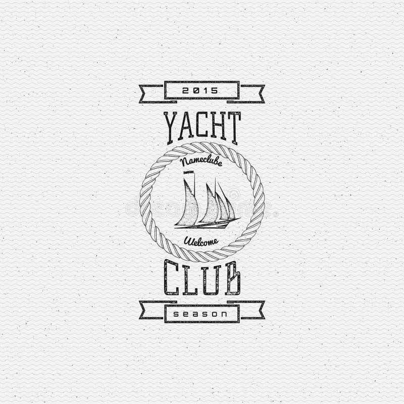 Os logotipos e as etiquetas dos crachás do yacht club para alguns usam-se ilustração do vetor