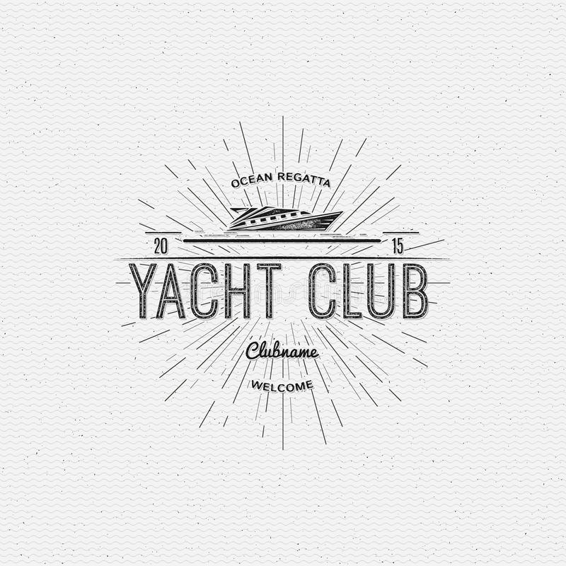 Os logotipos e as etiquetas dos crachás do yacht club para alguns usam-se ilustração royalty free