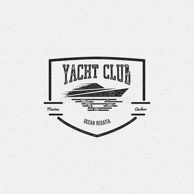 Os logotipos e as etiquetas dos crachás do yacht club para alguns usam-se ilustração stock