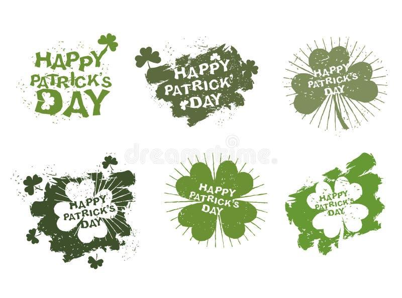 Os logotipos felizes do dia de Patricks ajustaram-se no estilo do grunge Traço de escova ilustração royalty free