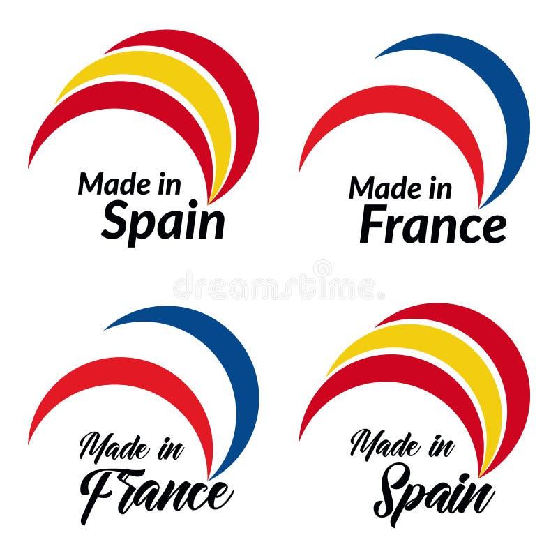Os logotipos simples feitos na Espanha, feita em França, vector logotipos com Espanha, bandeiras de França ilustração do vetor