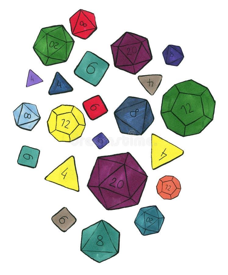 Os lotes de colorido cortam para o rpg, o tabletop ou os jogos de mesa ilustração stock