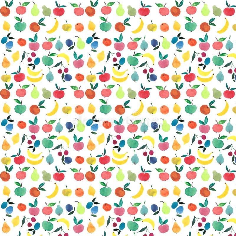Os lotes dos frutos e das bagas modelam o esboço da mão da aquarela ilustração stock
