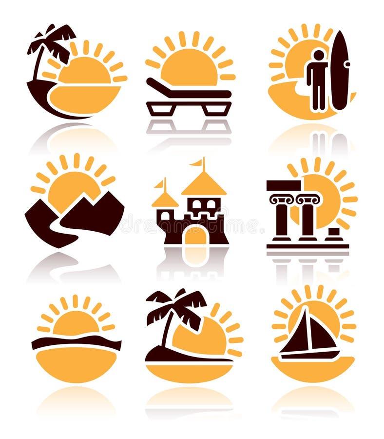 Ícones de atividades do verão ilustração do vetor