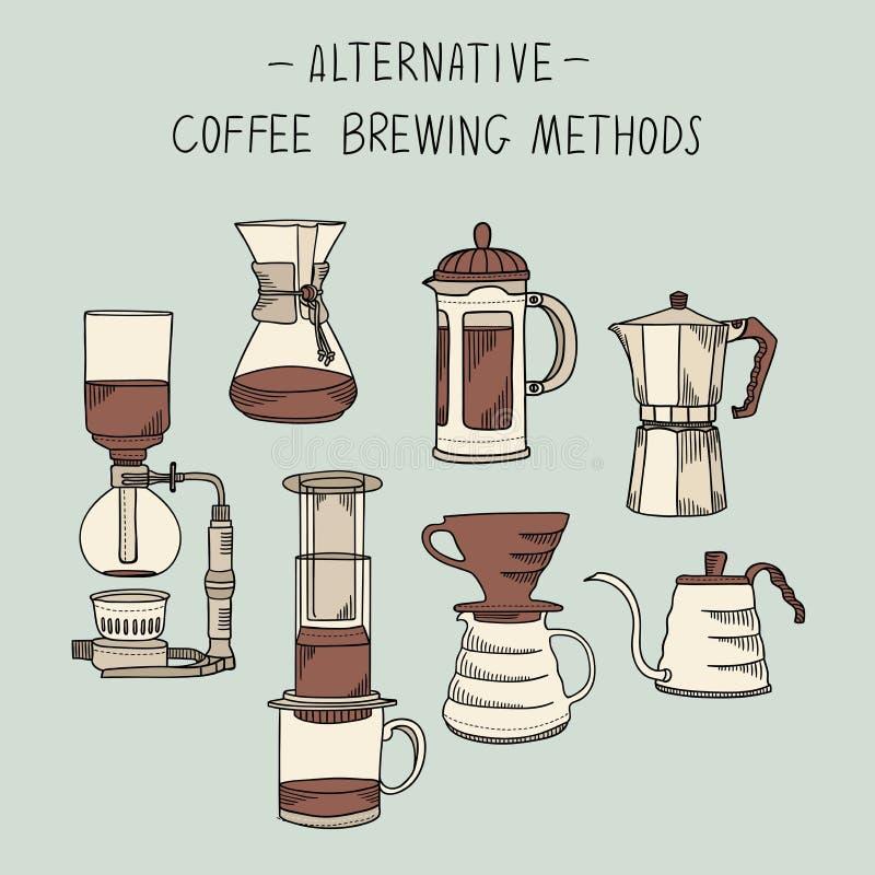 Os métodos alternativos da fabricação de cerveja do café ajustaram-se da ilustração do esboço do vetor dos elementos ilustração royalty free