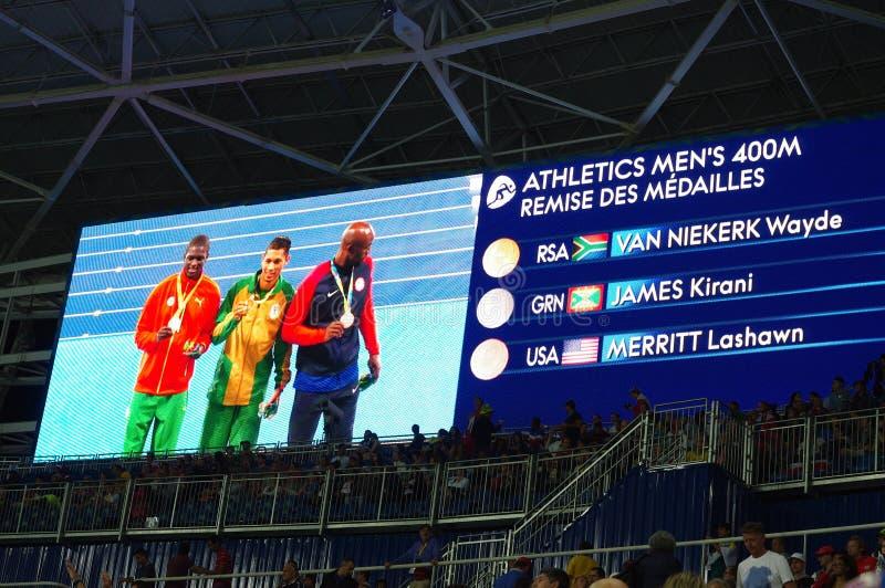Os 400m dos homens do atletismo em Rio2016 fotografia de stock