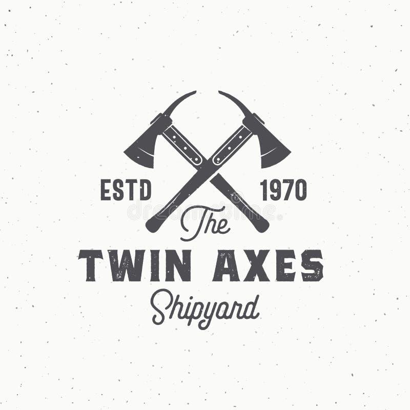 Os machados gêmeos abstraem o sinal, o símbolo ou o Logo Template do vetor Machados cruzados do navio e tipografia retro O vintag ilustração royalty free