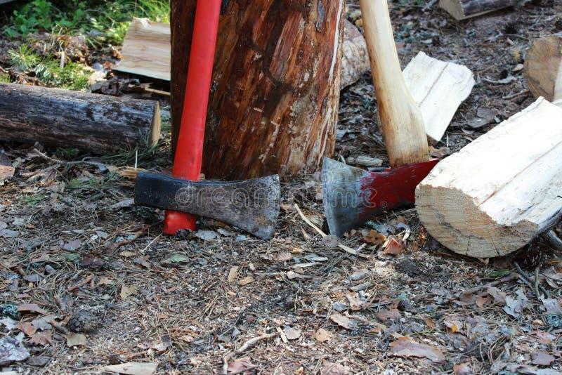 os machados grandes com um punho vermelho estão na floresta que inclina-se contra um coto de madeira para cozinhar a lenha foto de stock royalty free