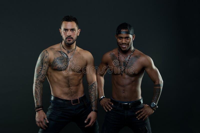 Os Machos com os torsos tattooed musculares olham fundo atrativo, escuro Atletas nas caras seguras com o nude muscular imagem de stock
