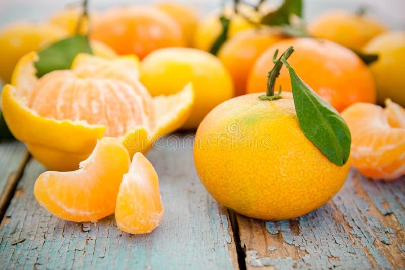 Os mandarino orgânicos frescos com folhas fotografia de stock