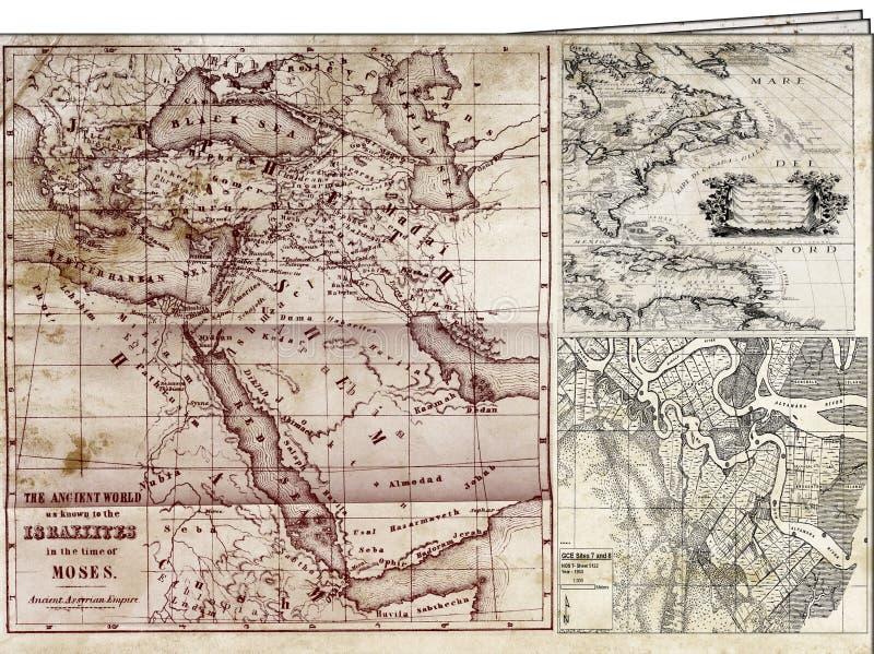 Os mapas os mais velhos ilustração do vetor