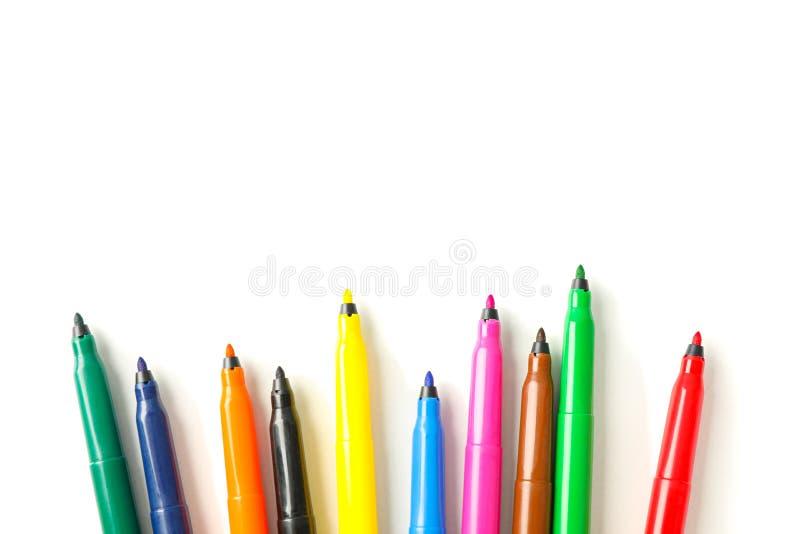Os marcadores da cor isolaram-se foto de stock