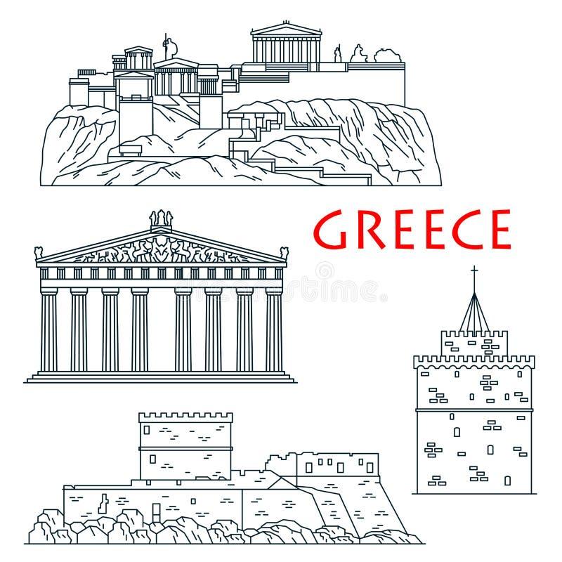 Os marcos antigos do curso de Grécia diluem a linha ícone ilustração stock