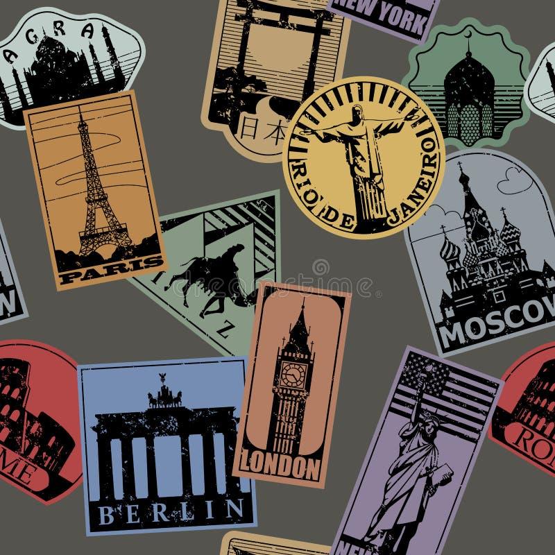 Os marcos da cor de papel do vintage viajam CCB sem emenda do teste padrão das etiquetas ilustração stock