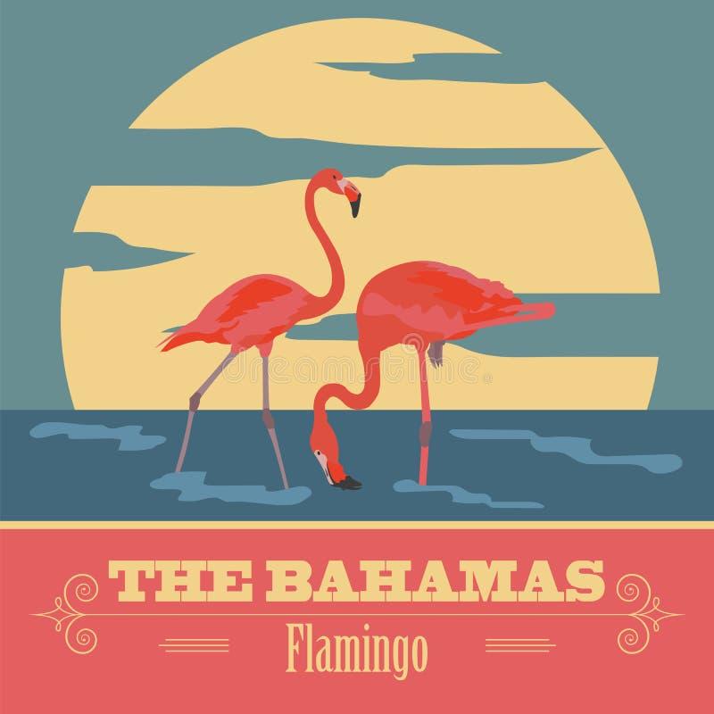 Os marcos do Bahamas Imagem denominada retro ilustração stock
