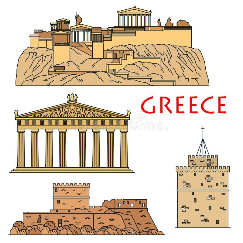 Os marcos do curso do grego clássico diluem a linha ícones ilustração royalty free