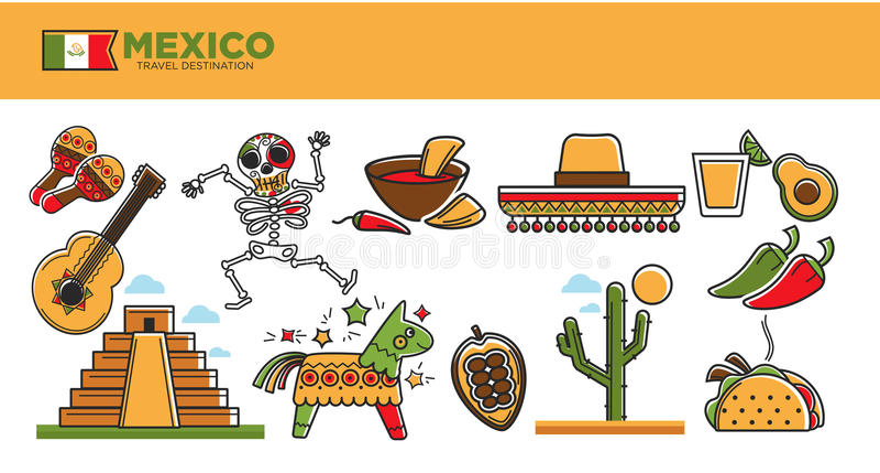 Os marcos e as atrações turísticas famosos do turismo do curso de México vector o grupo de símbolos ilustração royalty free