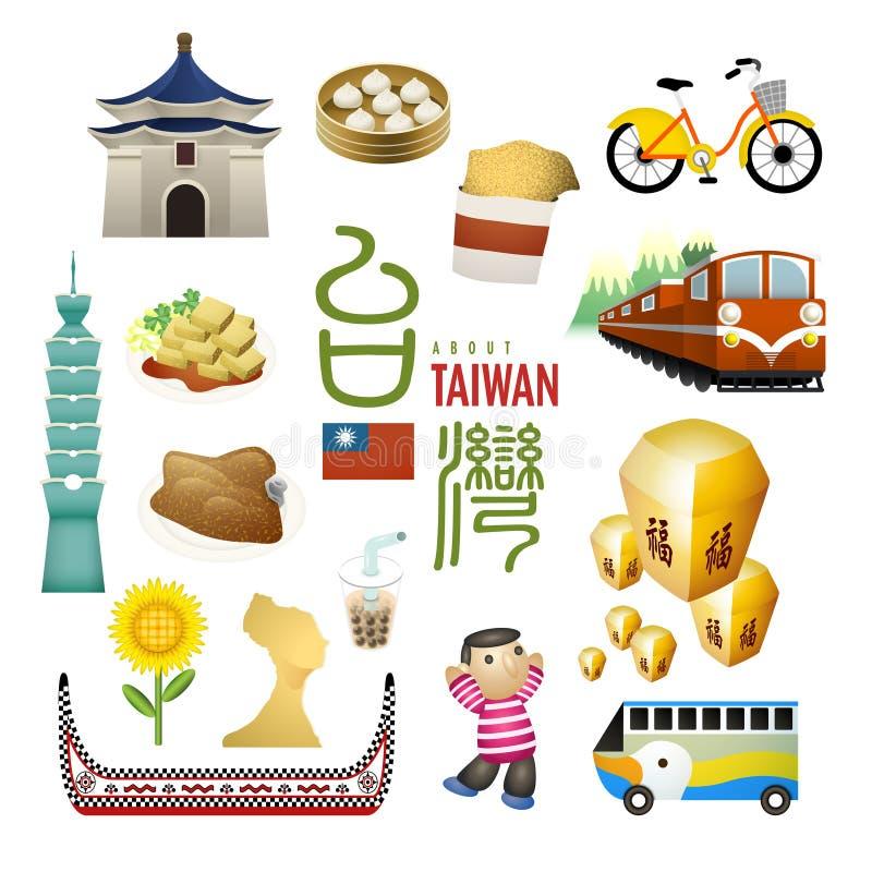 Os marcos e os petiscos bonitos de Taiwan traçam no estilo liso ilustração do vetor