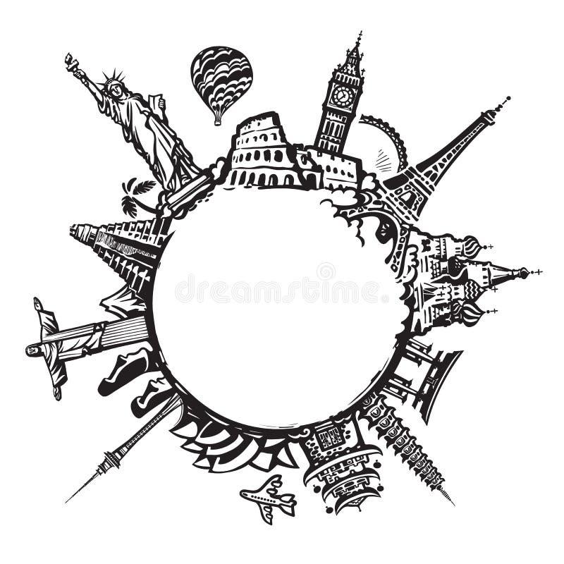 Os marcos famosos do mundo localizaram ao redor do mundo isolado no fundo branco Projeto para o curso e turismo com c?pia ilustração stock
