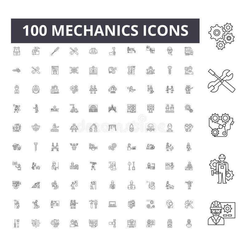 Os mecânicos alinham ícones, sinais, grupo do vetor, conceito da ilustração do esboço ilustração royalty free