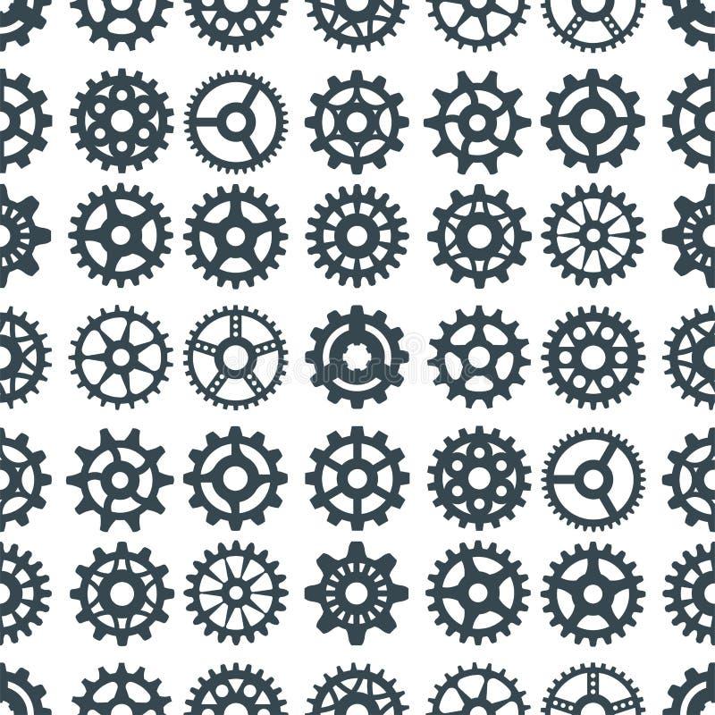 Os mecânicos da ilustração do vetor da engrenagem que alinham a forma do desenvolvimento da Web trabalham a maquinaria do equipam ilustração royalty free