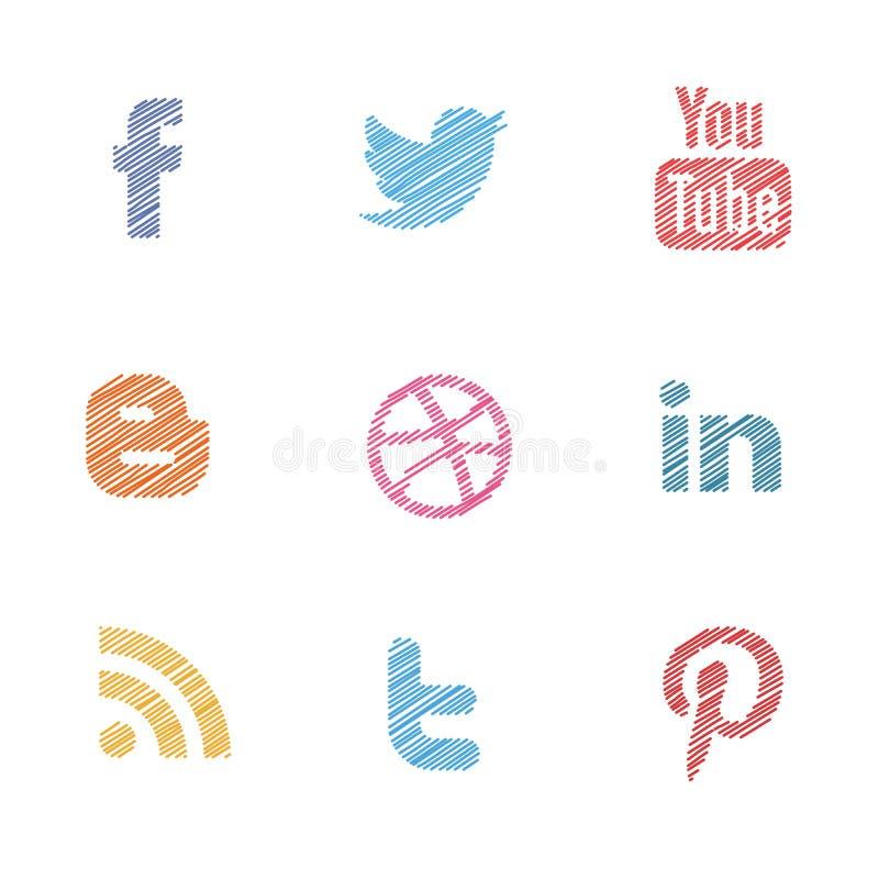 Os media sociais ajustaram-se ilustração stock
