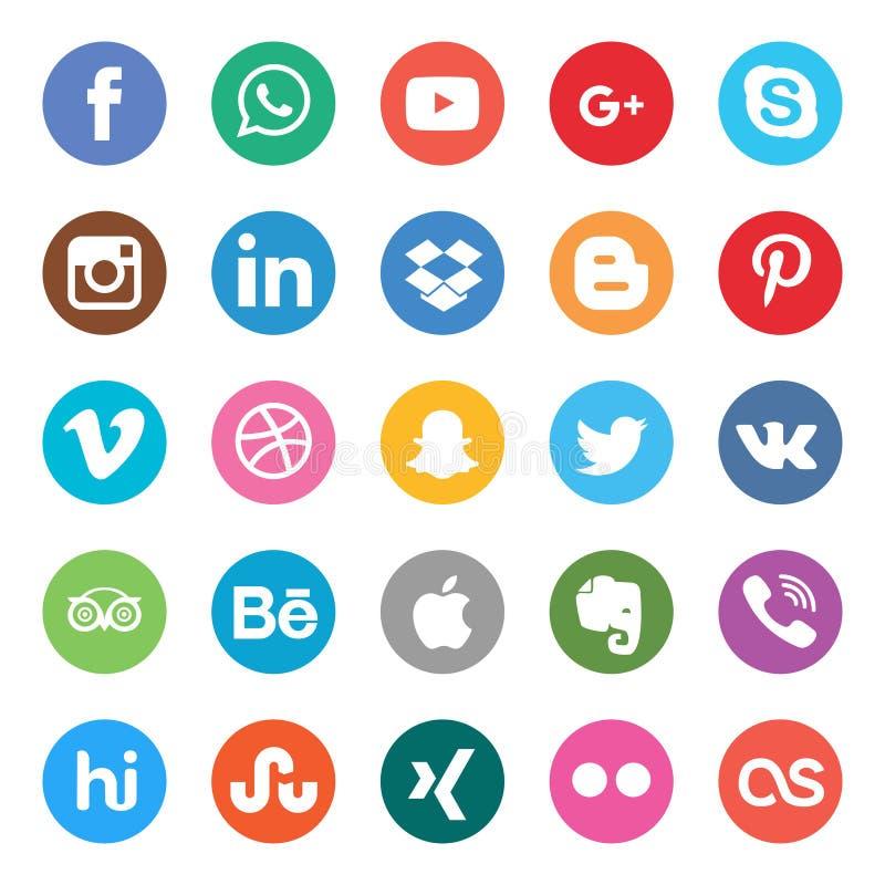 Os media sociais ajustaram-se Projeto bonito do ícone do círculo de cor para o Web site, molde, bandeira ilustração do vetor