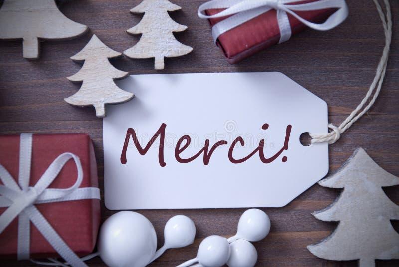Os meios de Merci da árvore do presente da etiqueta do Natal agradecem-lhe fotografia de stock