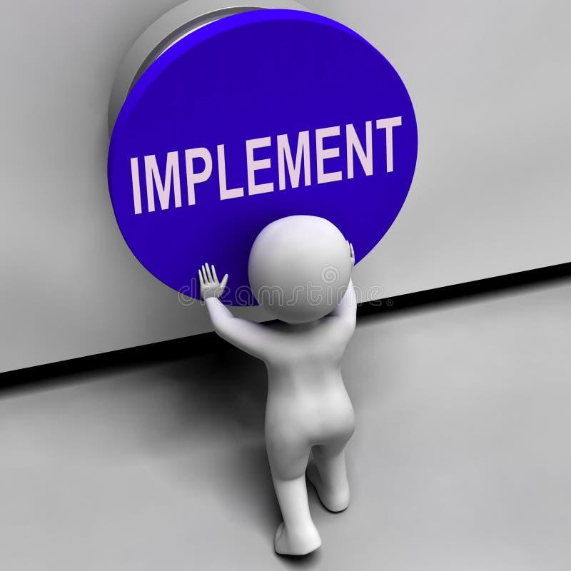Os meios do botão do implementar aplicam-se ou execução ilustração do vetor