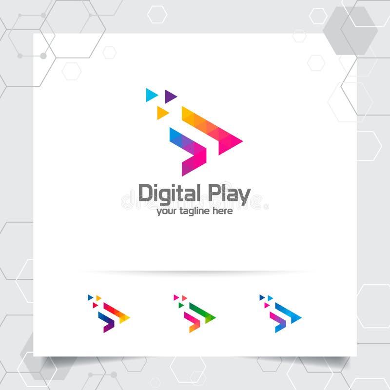 Os meios jogam o vetor do projeto do logotipo com conceito do triângulo e do ícone coloridos da seta para o estúdio, a aplicação, ilustração do vetor