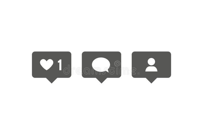 Os meios sociais ajustaram ícones: como, seguidor, comentário Ilustração do vetor Notificações para meios sociais Isolado no fund ilustração royalty free