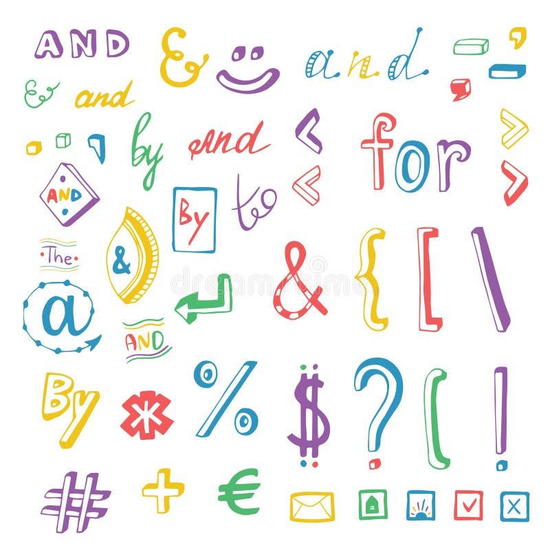 Os meios sociais coloridos assinam e as garatujas do símbolo ajustadas Lemas e, para, a, perto Elementos do projeto do vetor ilustração stock