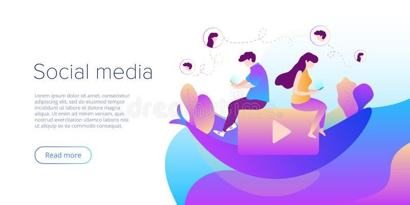 Os meios sociais conversam o conceito na ilustração do vetor Adolescentes usando smartphones para a conversação virtual, comparti ilustração royalty free