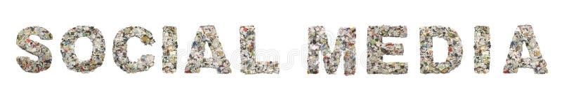 Os MEIOS SOCIAIS da palavra feitos dos confetes do jornal imagens de stock royalty free