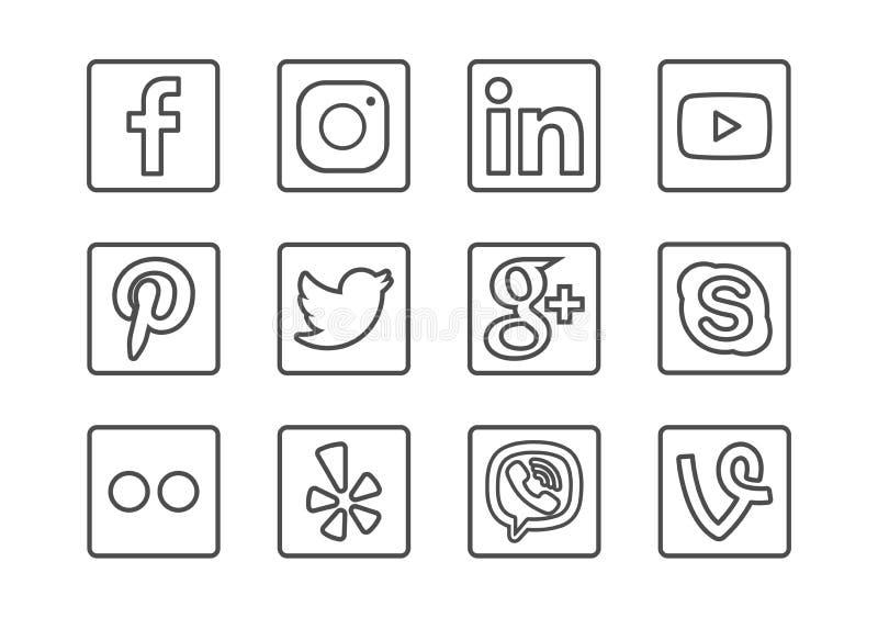 Os meios sociais esboçam a sagacidade do grupo do ícone ilustração stock