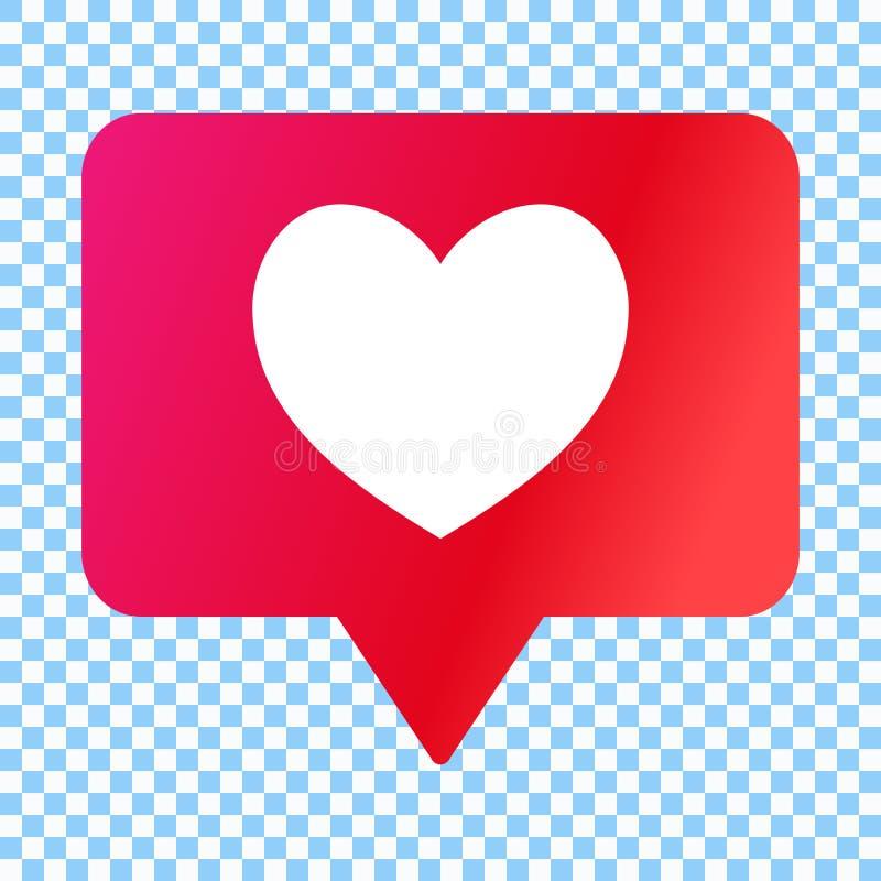 Os meios sociais gostam do ícone, coração na bolha do discurso, ilustração do vetor ilustração royalty free