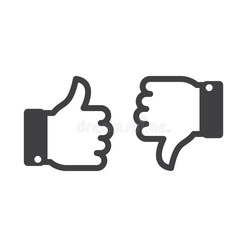 Os meios sociais gostam e não gostam do ícone simples ilustração royalty free