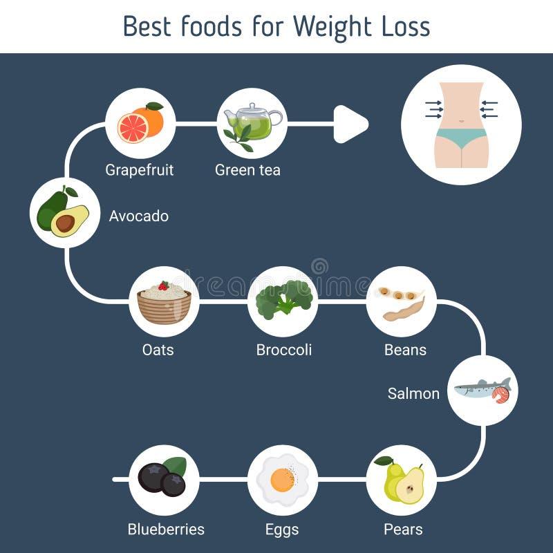 Os melhores alimentos para a perda de peso ilustração stock