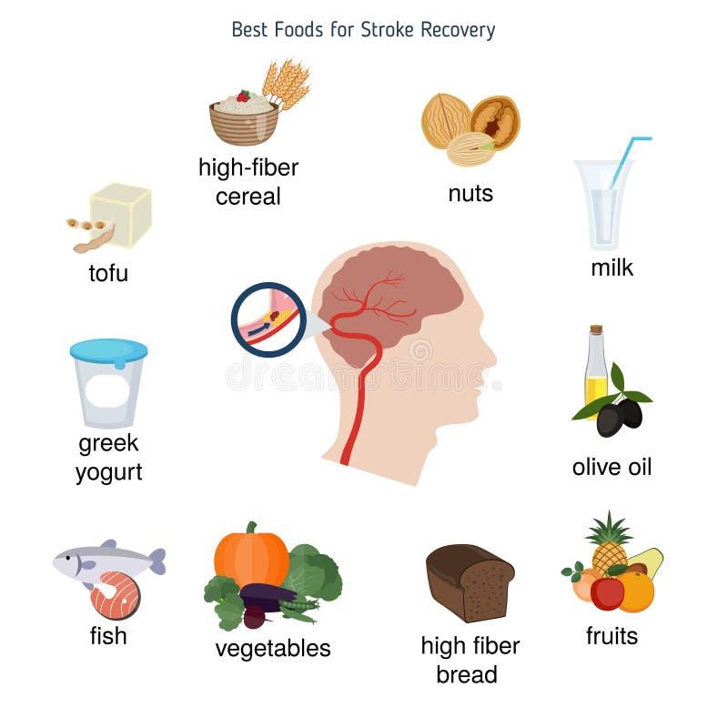Os melhores alimentos para a recuperação do curso ilustração do vetor