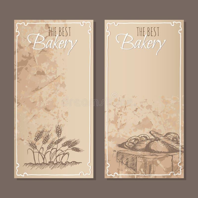 Os melhores cartões da padaria O menu carda o esboço ilustração stock