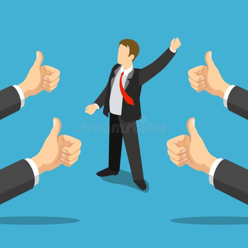 Os melhores polegares do homem de negócios bem sucedido levantam as mãos 3d liso isométricas ilustração stock