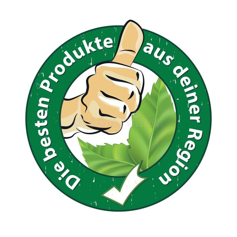 Os melhores produtos de seu selo alemão imprimível da região ilustração stock