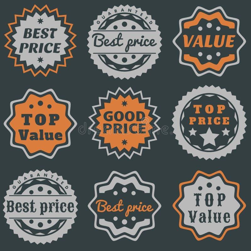 Os melhores selos do preço ilustração do vetor