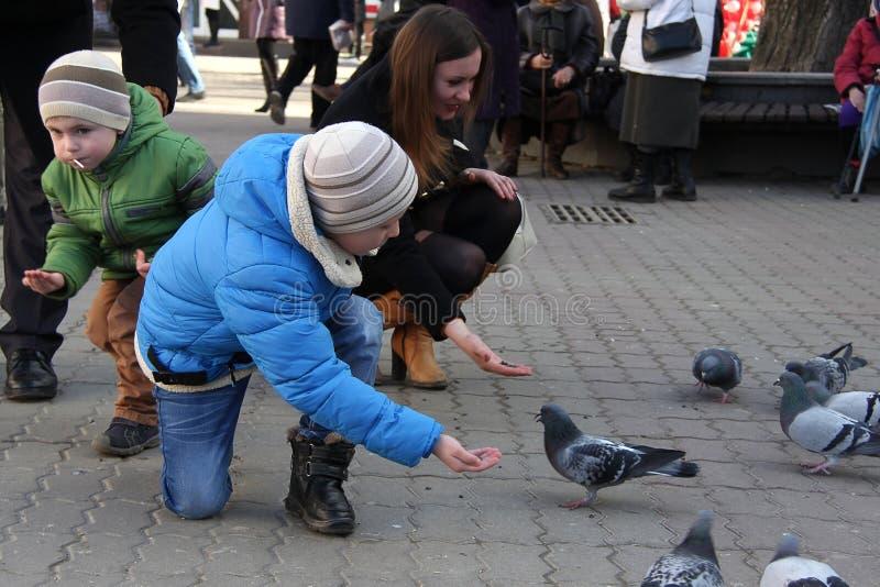 Os meninos com a mãe nos pombos quadrados da alimentação imagens de stock