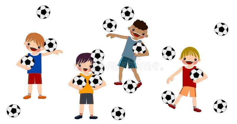 Os meninos das crianças jogam o futebol em ilustrações isoladas ilustração do vetor